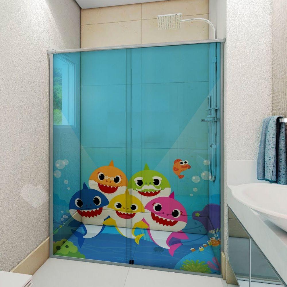 Adesivo Para Box De Banheiro 3d Baby Shark I Largura Total Até 120cm