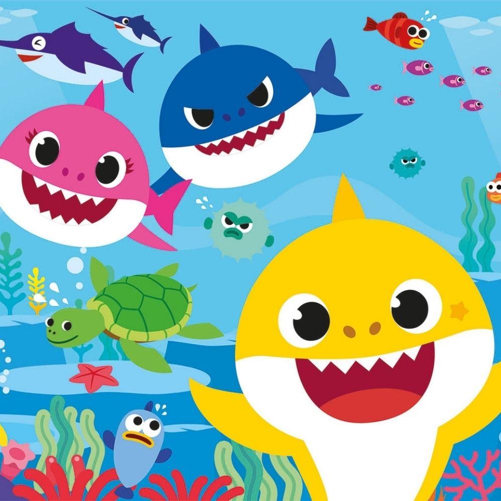 Adesivo Para Box De Banheiro 3d Baby Shark II Largura Total Até 120cm
