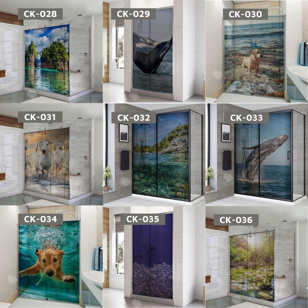 Adesivo Para Box De Banheiro 3d Baleia Mergulhando II Largura Total Até 120cm
