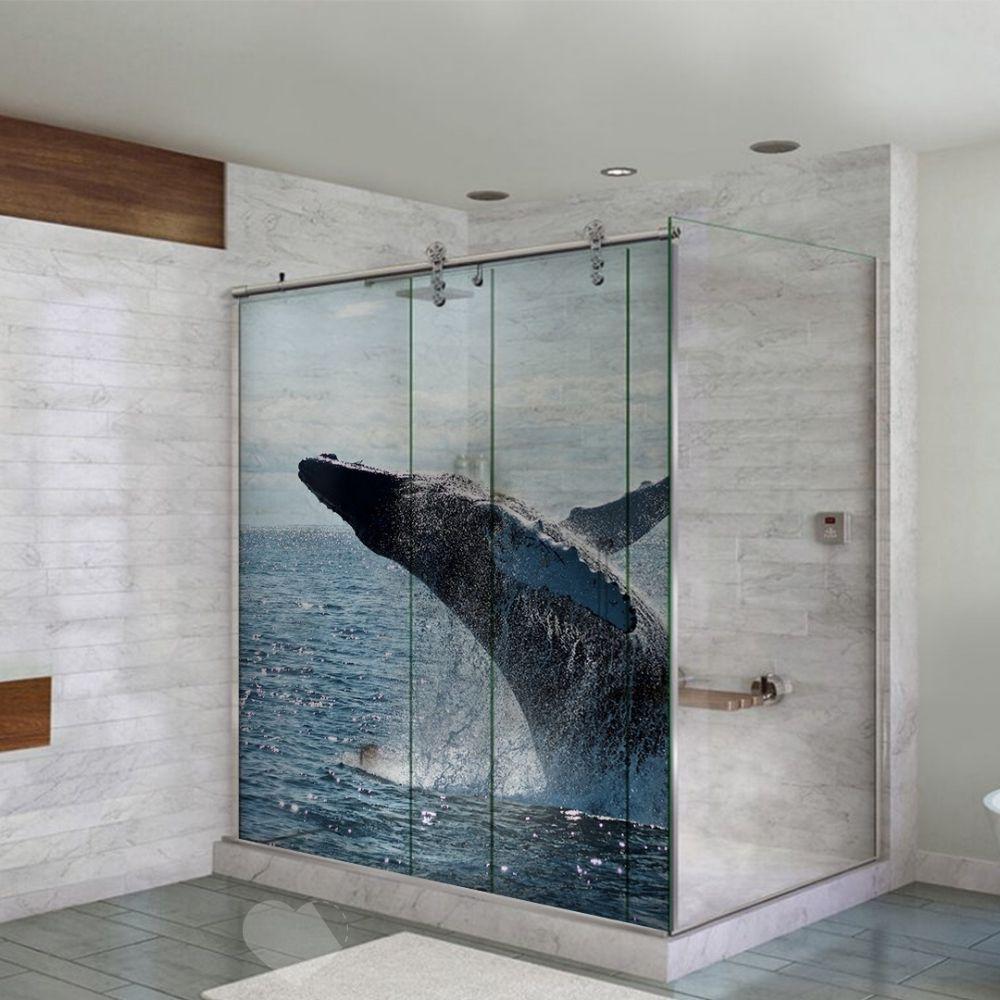 Adesivo Para Box De Banheiro 3d Baleia Pulando II Largura Total Até 120cm