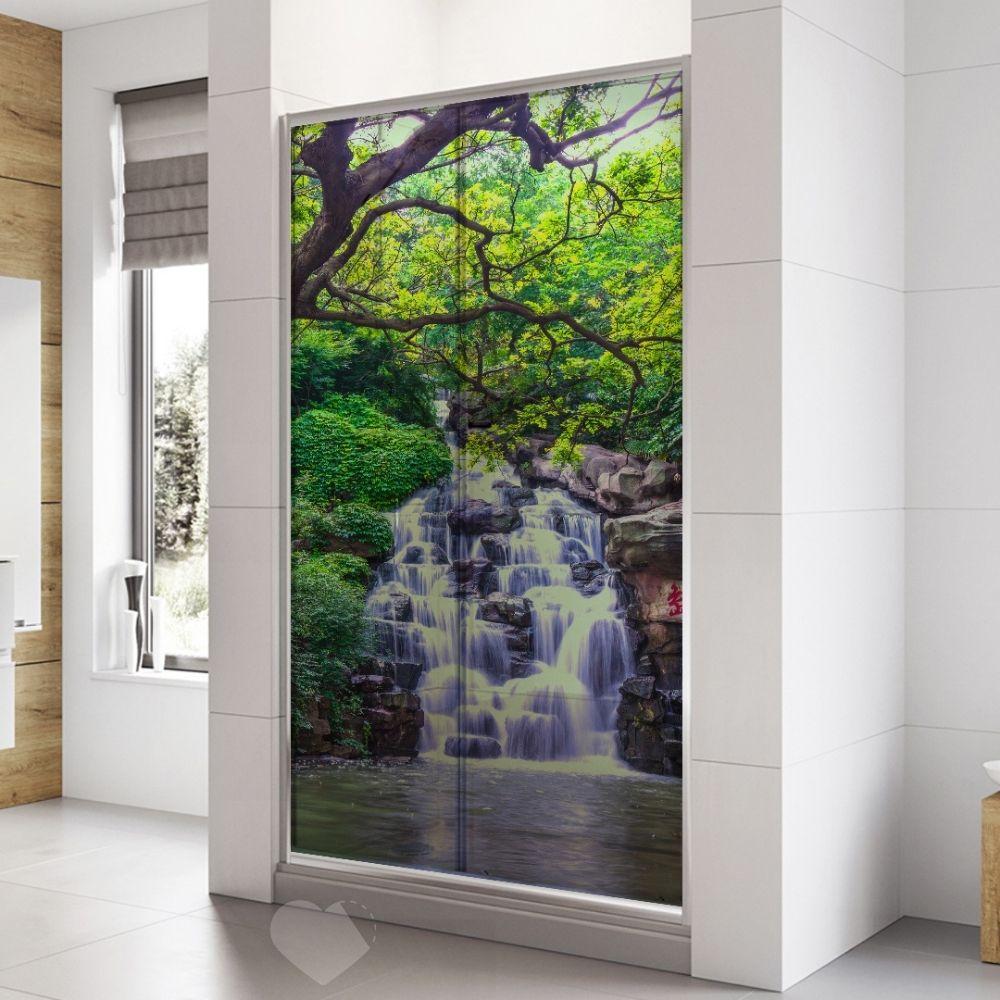 Adesivo Para Box De Banheiro 3d Cachoeira II Largura Total Até 120cm