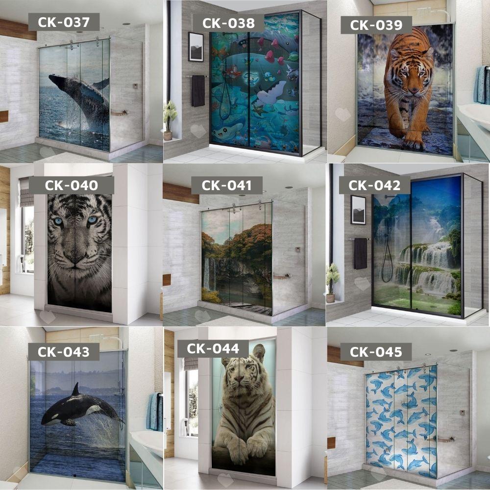 Adesivo Para Box De Banheiro 3d Cachoeira IV Largura Total Até 120cm