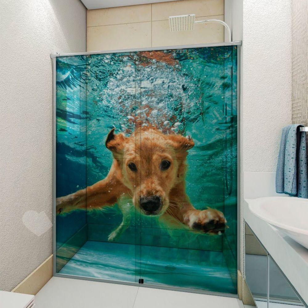 Adesivo Para Box De Banheiro 3d Cachorro Mergulhando Largura Total Até 120cm