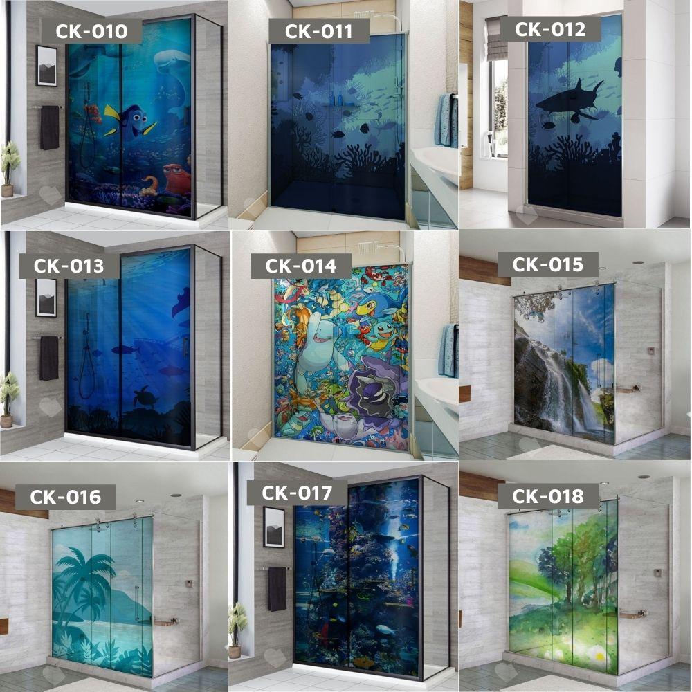 Adesivo Para Box De Banheiro 3d Cachorro no Mar Largura Total Até 120cm