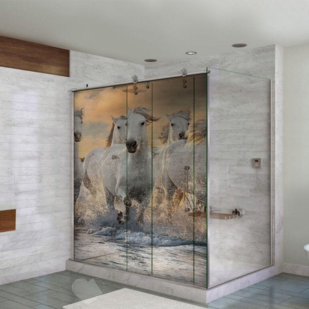 Adesivo Para Box De Banheiro 3d Cavalos no Mar Largura Total Até 120cm
