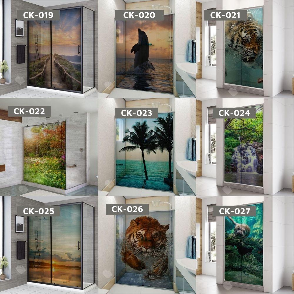Adesivo Para Box De Banheiro 3d Céu Largura Total Até 120cm