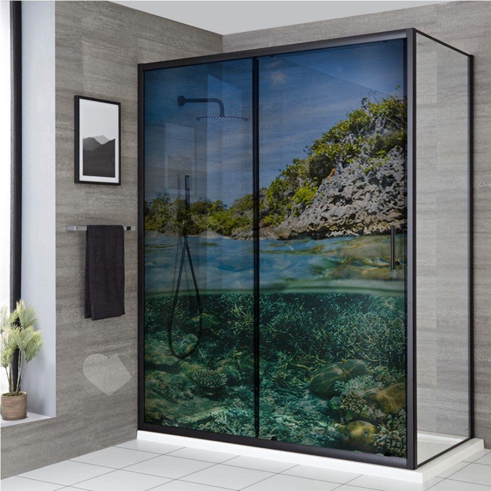 Adesivo Para Box De Banheiro 3d Debaixo Da Água Largura Total Até 120cm