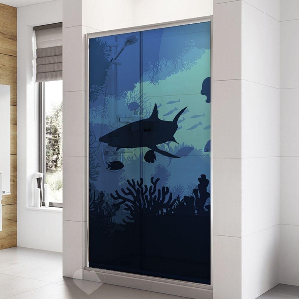Adesivo Para Box De Banheiro 3d Fundo do Mar II Largura Total Até 120cm