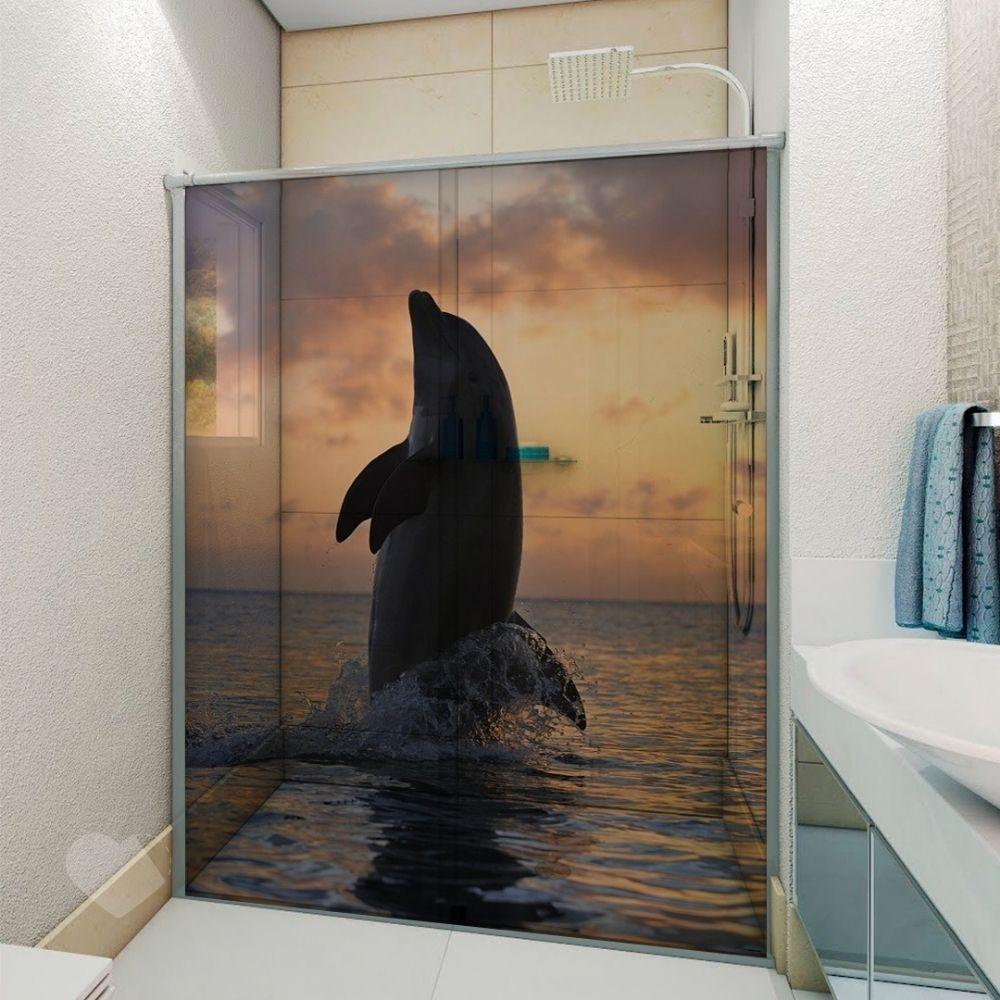 Adesivo Para Box De Banheiro 3d Golfinho Largura Total Até 120cm