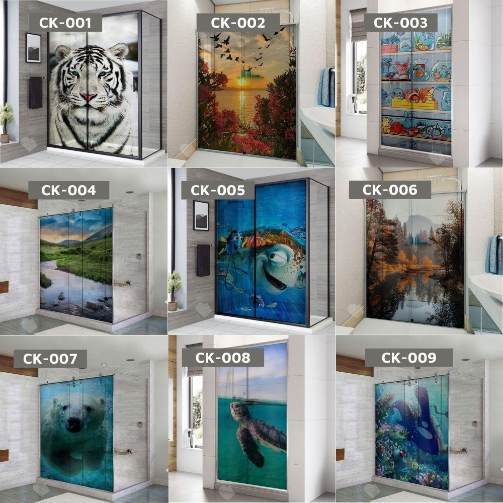 Adesivo Para Box De Banheiro 3d Ilhas Rochosas Largura Total Até 120cm