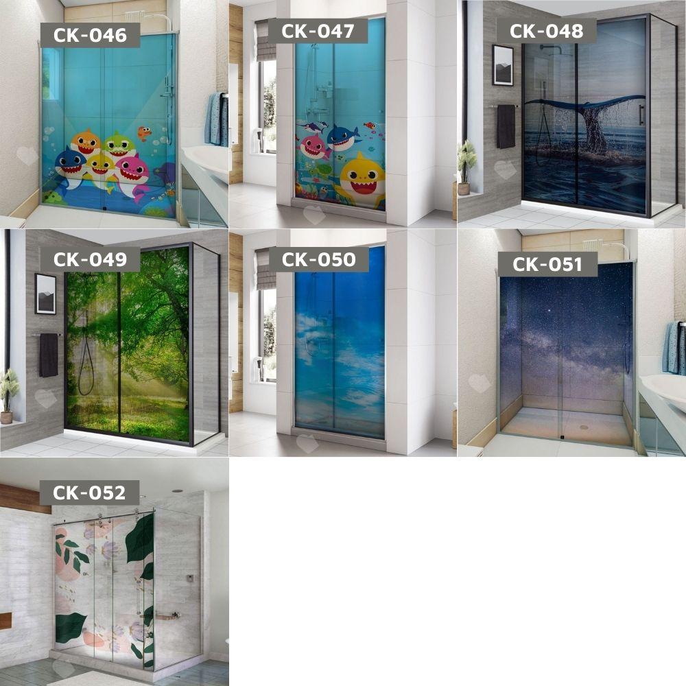 Adesivo Para Box De Banheiro 3d Ondas Japonesas Largura Total Até 120cm