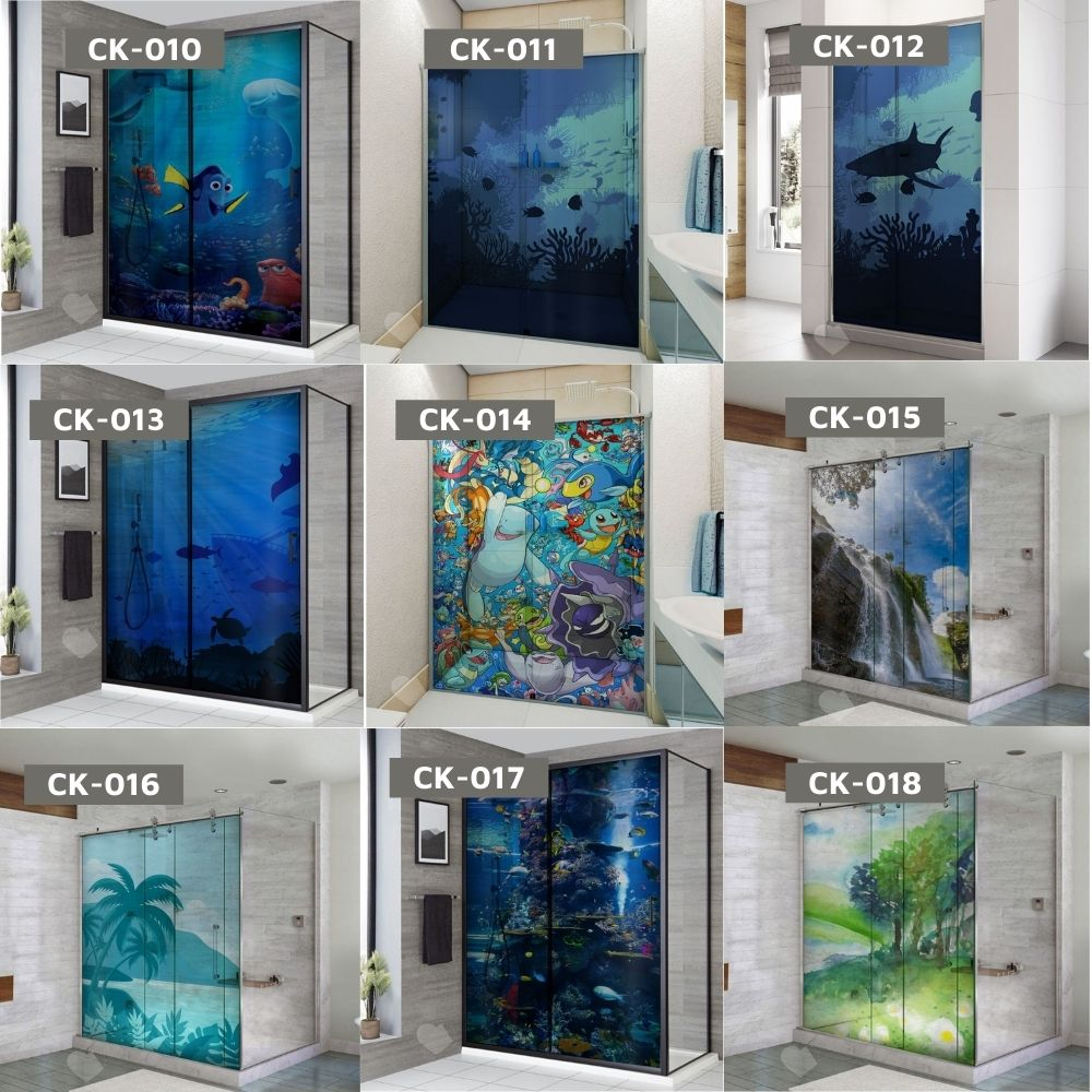 Adesivo Para Box De Banheiro 3d Padrão Baleias Largura Total Até 120cm
