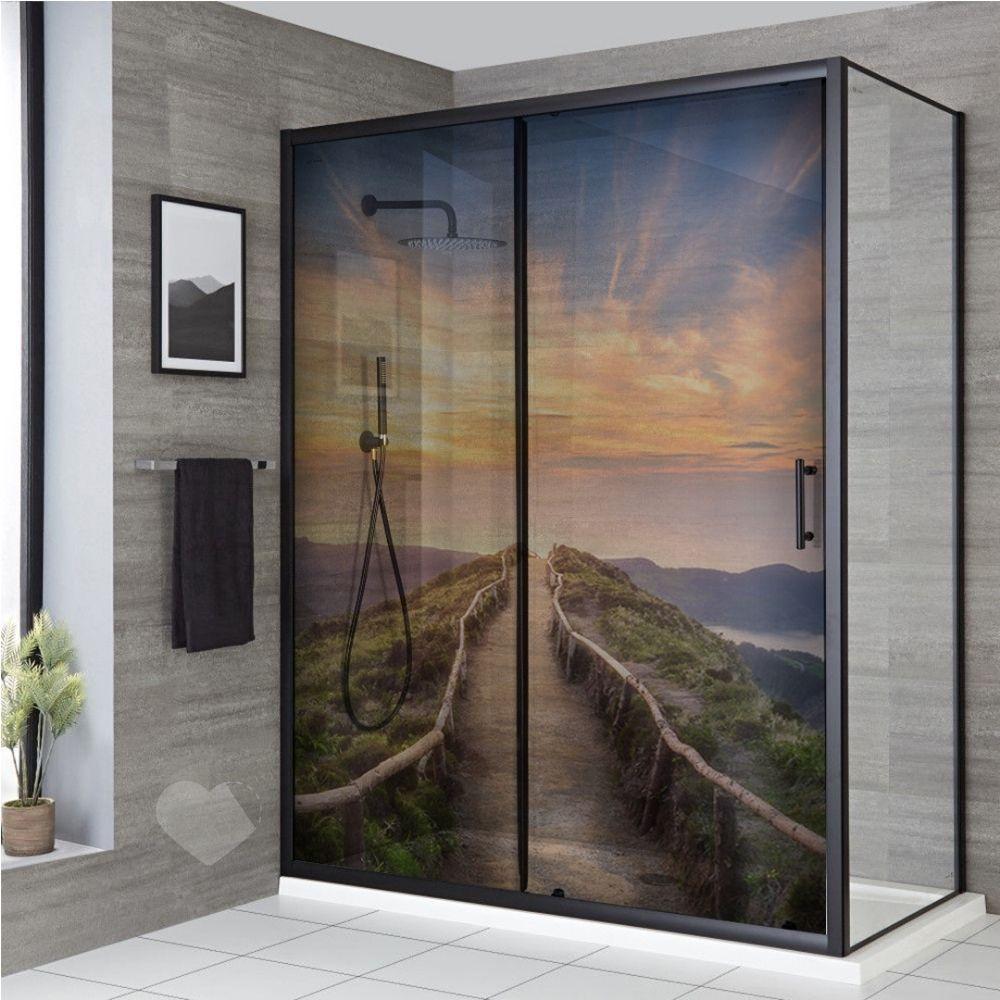 Adesivo Para Box De Banheiro 3d Paisagem Trilha Largura Total Até 120cm