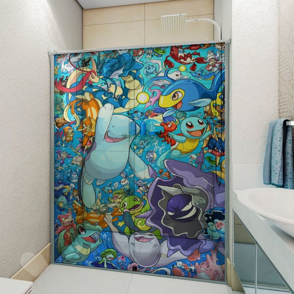 Adesivo Para Box De Banheiro 3d Pokemons Aquáticos III Largura Total Até 120cm