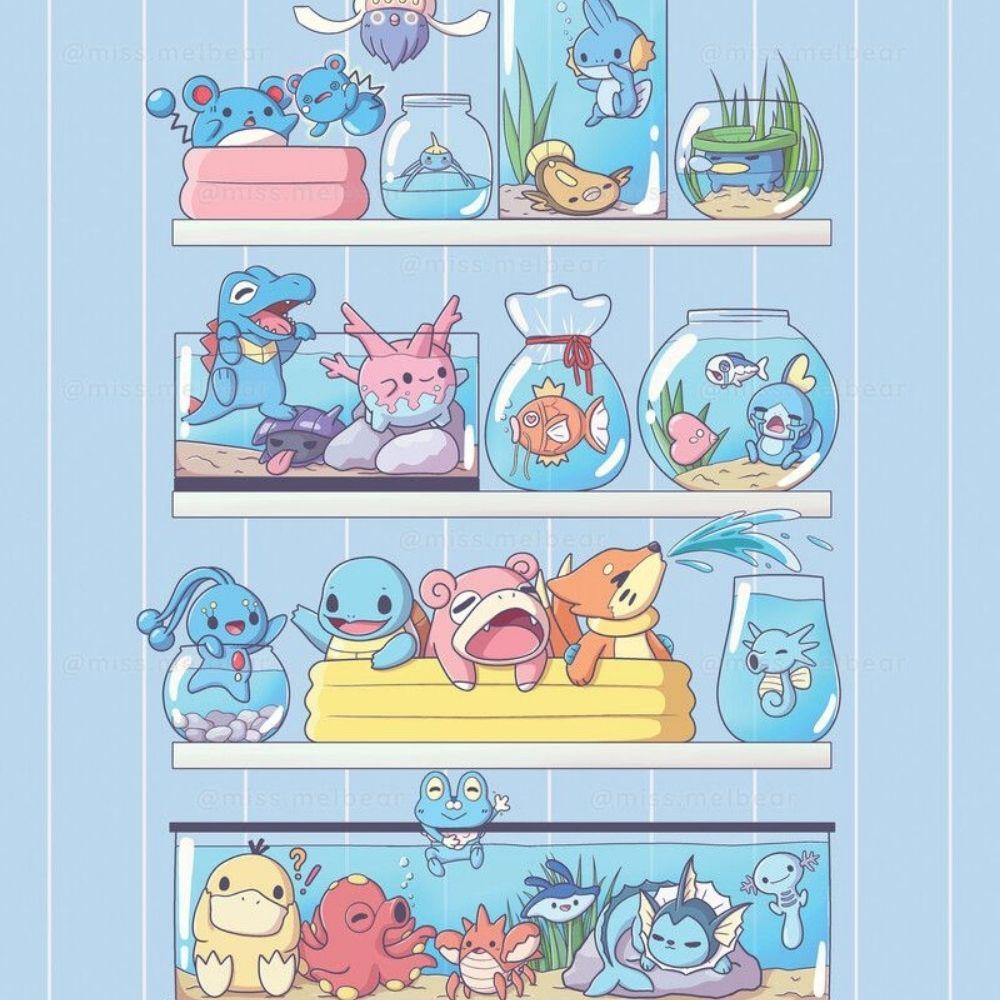 Adesivo Para Box De Banheiro 3d Pokemons Aquáticos Largura Total Até 120cm