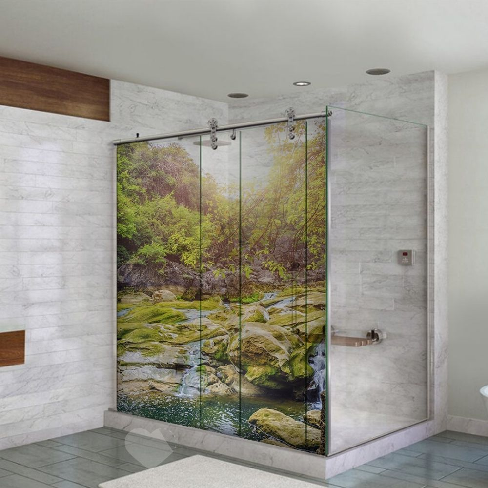 Adesivo Para Box De Banheiro 3d Riacho Rochoso Largura Total Até 120cm