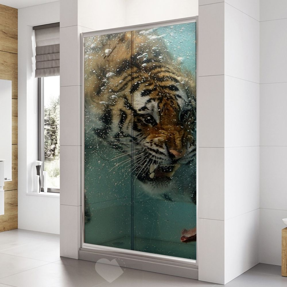 Adesivo Para Box De Banheiro 3d Tigre Largura Total Até 120cm