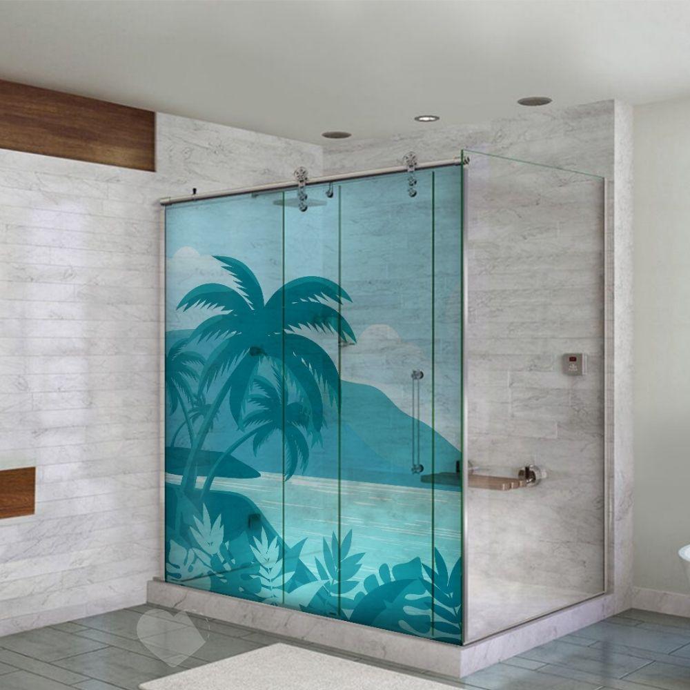 Adesivo Para Box De Banheiro 3d Tropical Largura Total Até 120cm