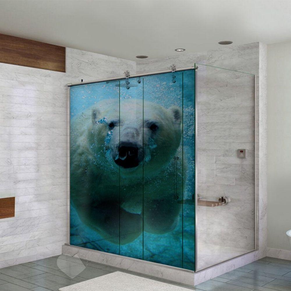 Adesivo Para Box De Banheiro 3d Urso Polar Largura Total Até 120cm