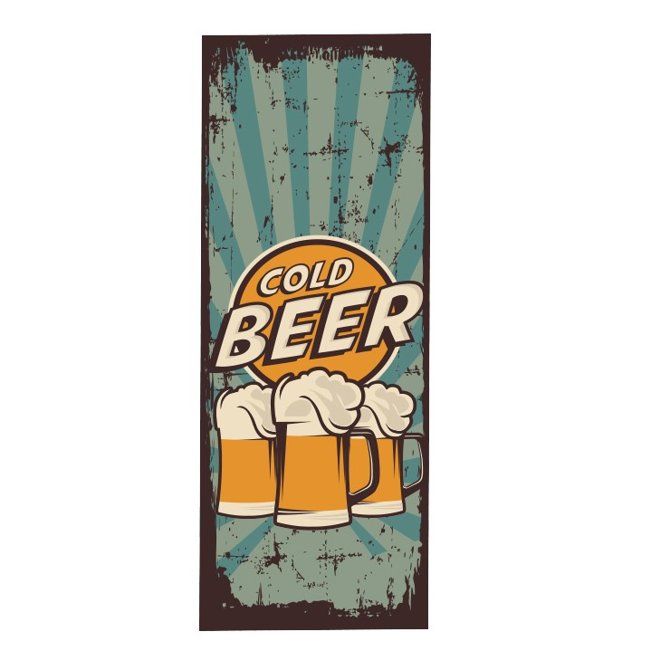 Adesivo Plotagem Geladeira Beer Retrô