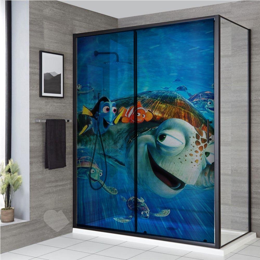 Adesivo Para Box De Banheiro 3d Procurando Nemo Largura Total Até 120cm