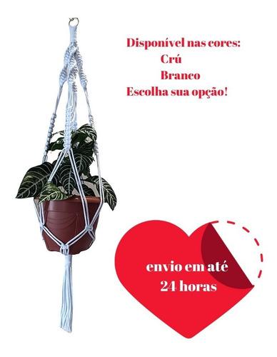 Floreira De Macramê Plant Hanger Kit 2un+ 2 Cachepots Rattan