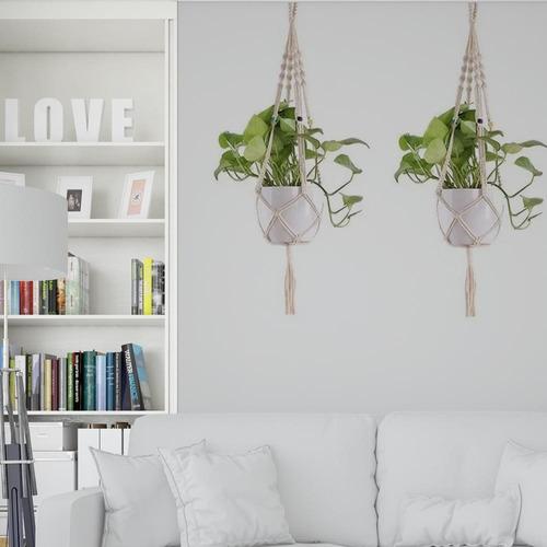 Floreira De Macramê Plant Hanger Suporte 100% Algodão Branco