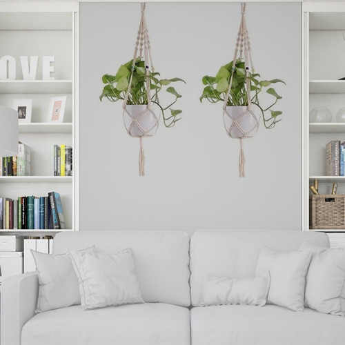 Floreira De Macramê Plant Hanger Suporte Suspenso Vaso 50cm