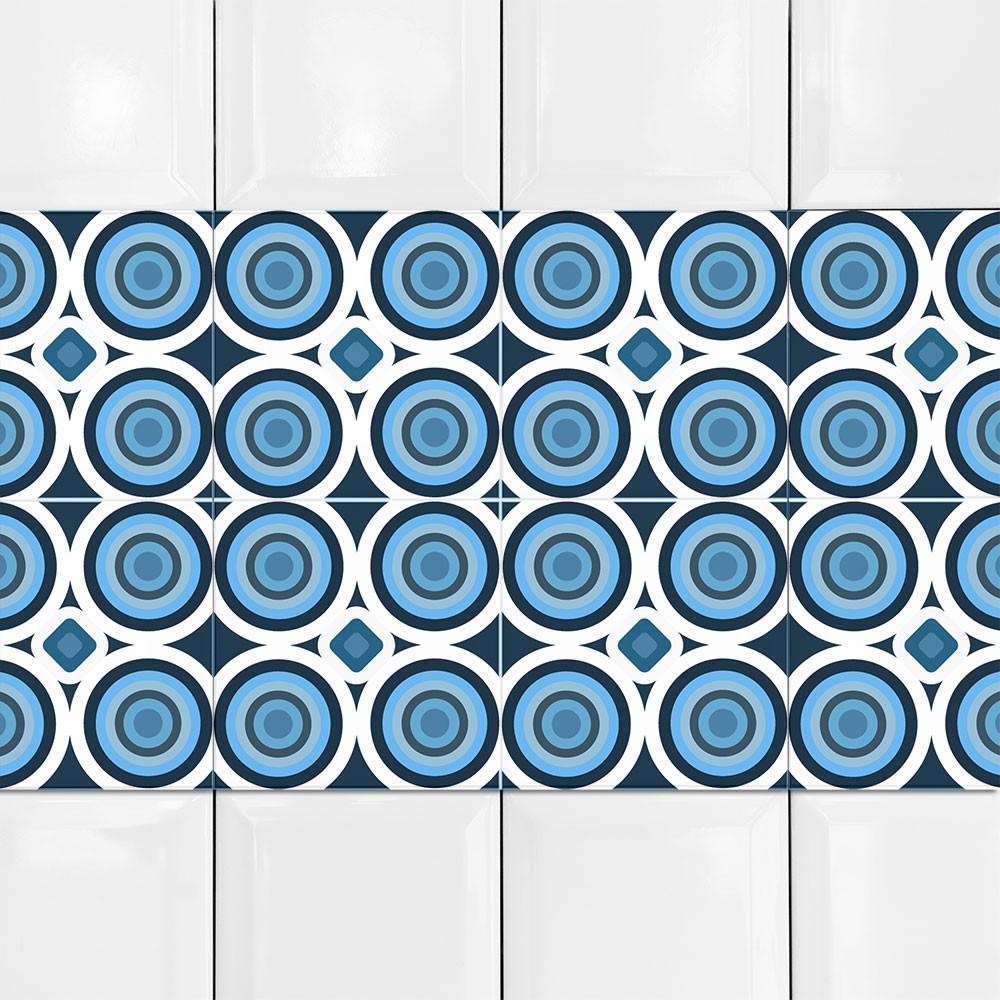 KIT Adesivos de Azulejos Azul Bolas