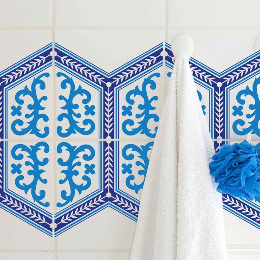 KIT Adesivos de Azulejos Azul Marroquino