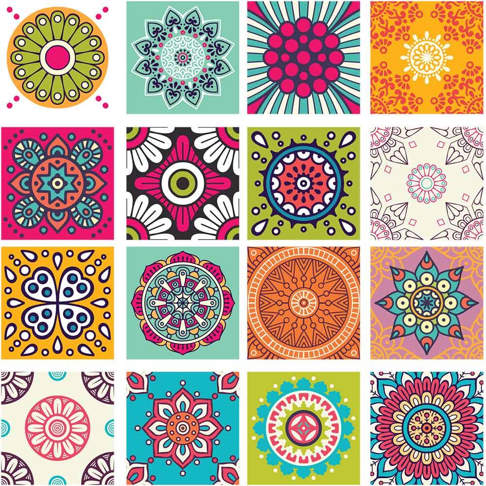 KIT Adesivos de Azulejos Bateria Colorida