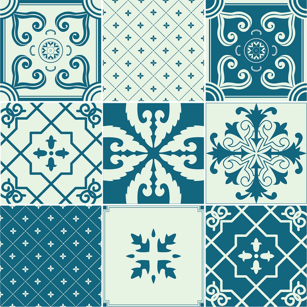 KIT Adesivos de Azulejos Classic Bathroom