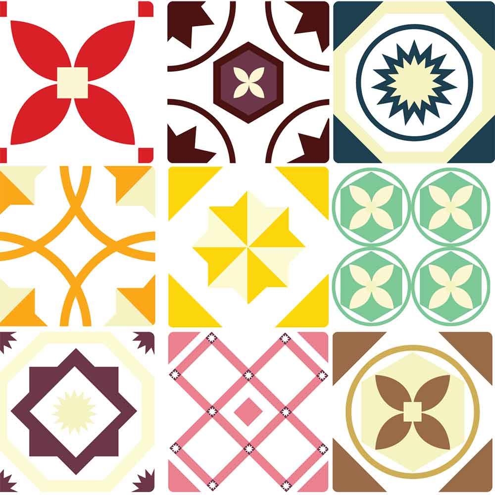 KIT Adesivos de Azulejos Colorido Alegria