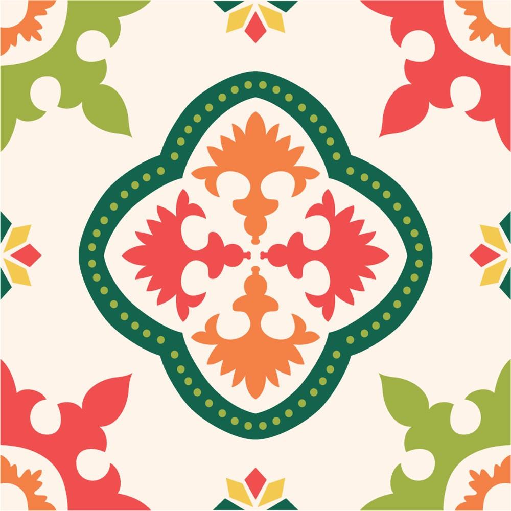 KIT Adesivos de Azulejos Colorido Happy