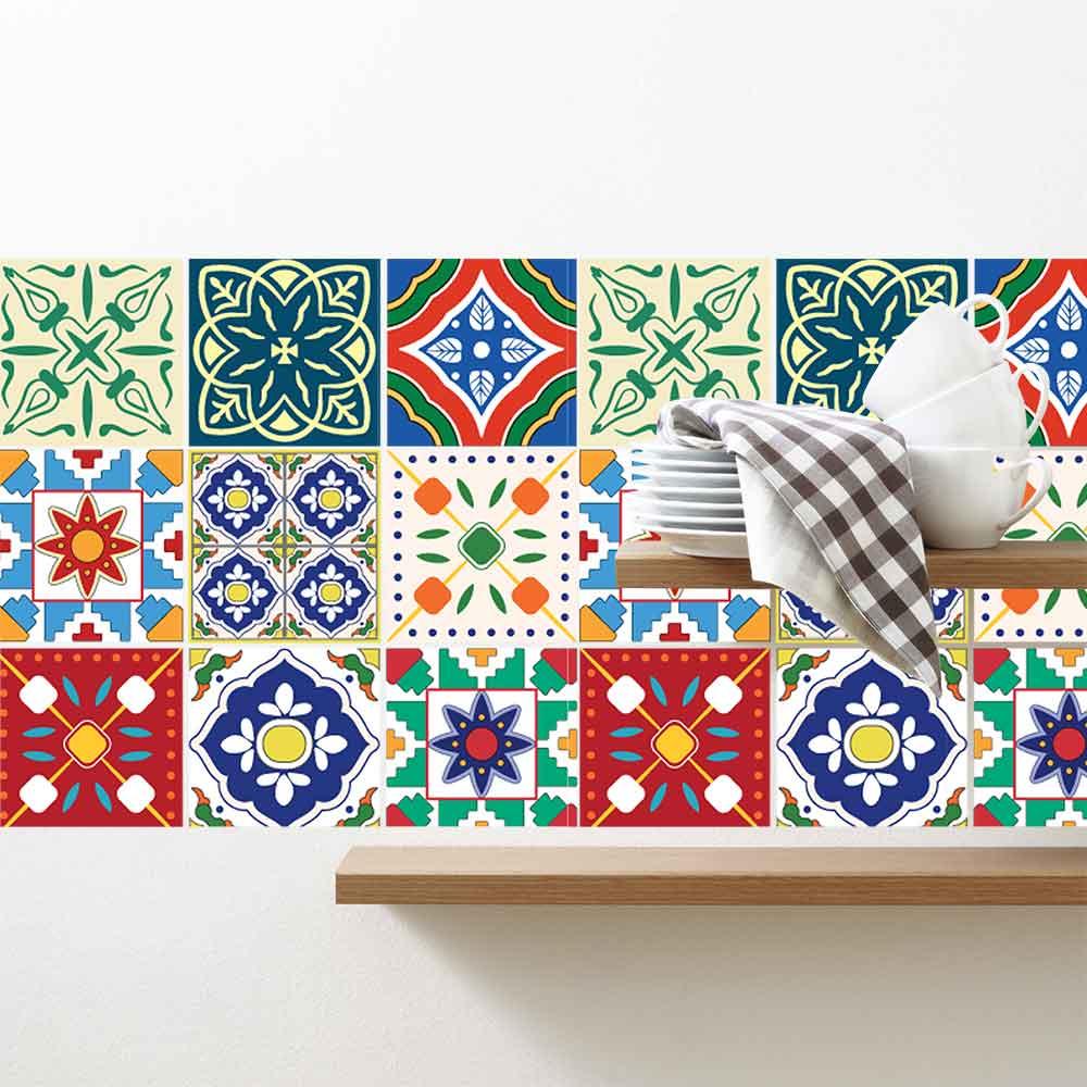 KIT Adesivos de Azulejos Colorido Português