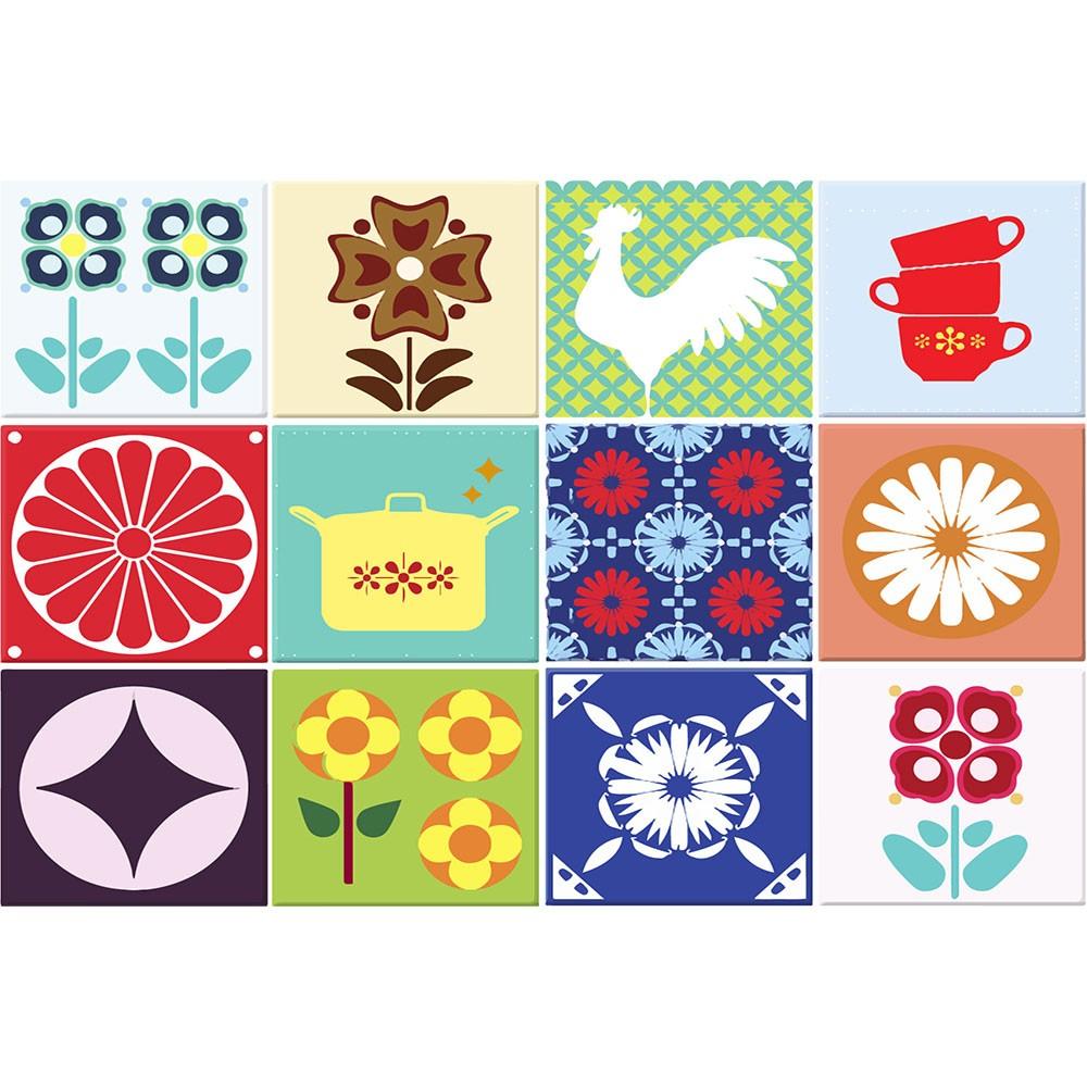 KIT Adesivos de Azulejos Colorido Vários Símbolos