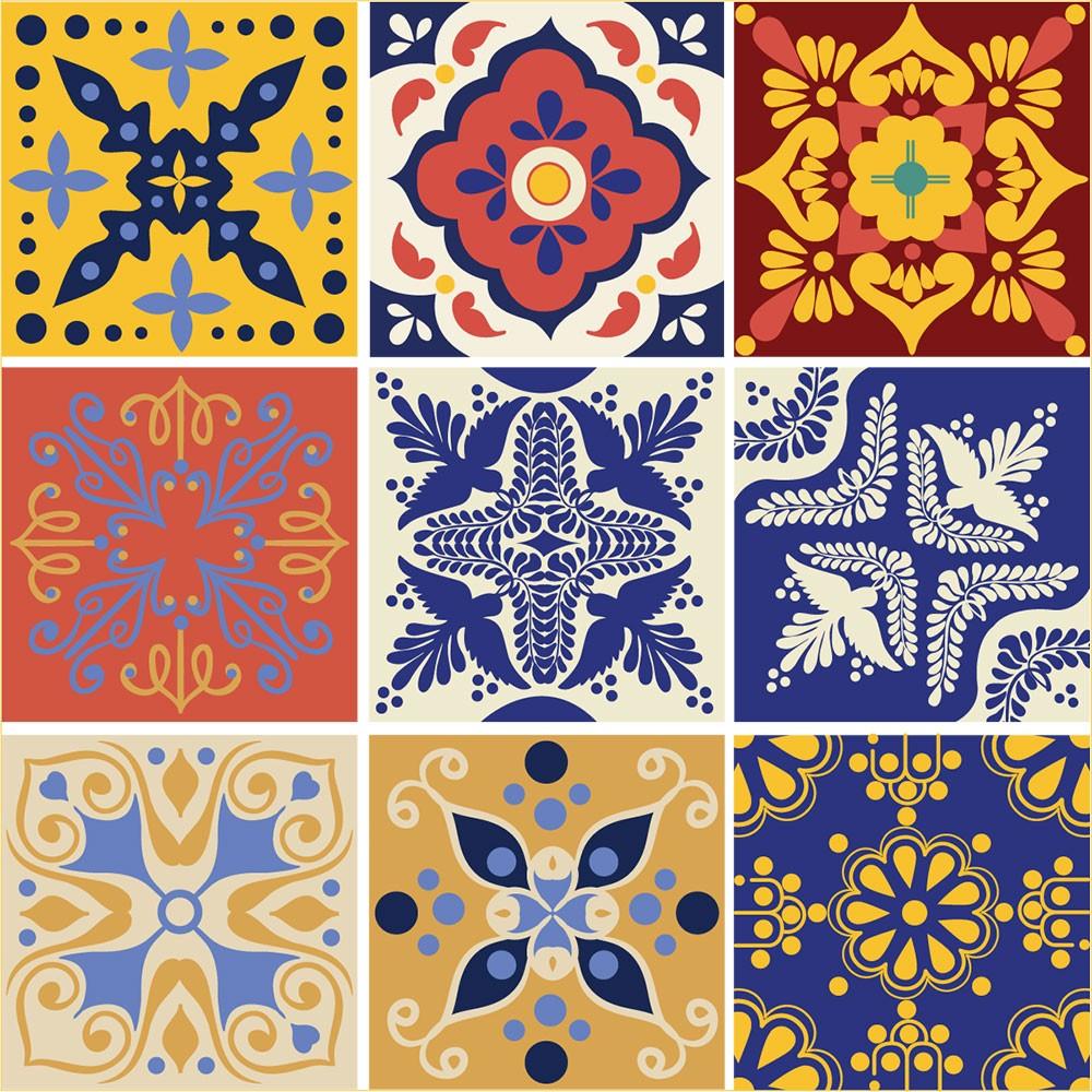 KIT Adesivos de Azulejos Floral Colorido