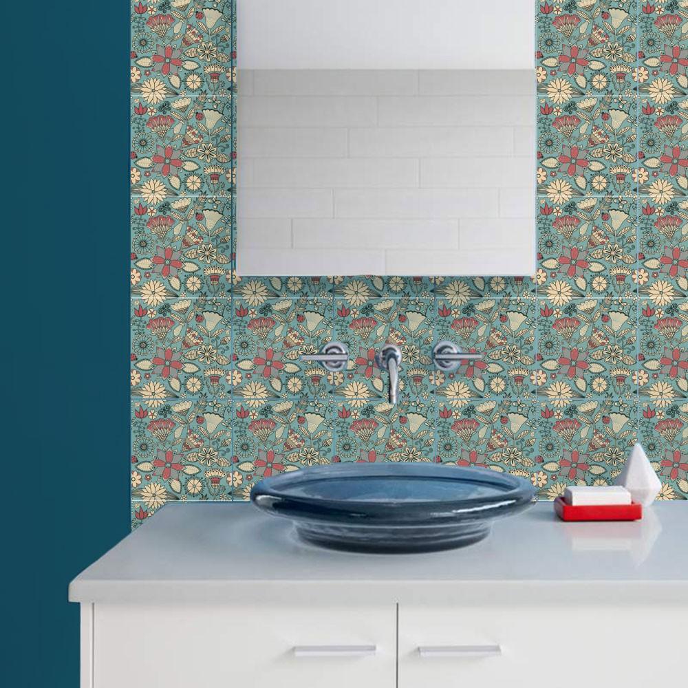KIT Adesivos de Azulejos Floral Retrô