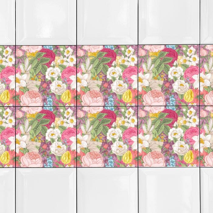 KIT Adesivos de Azulejos Flores Coloridas