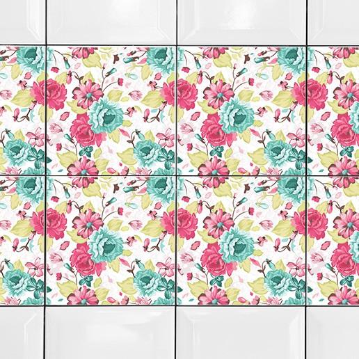 KIT Adesivos de Azulejos Flores Elegantes