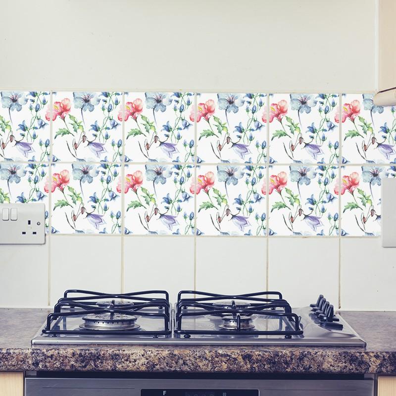 KIT Adesivos de Azulejos Flores em Aquarela