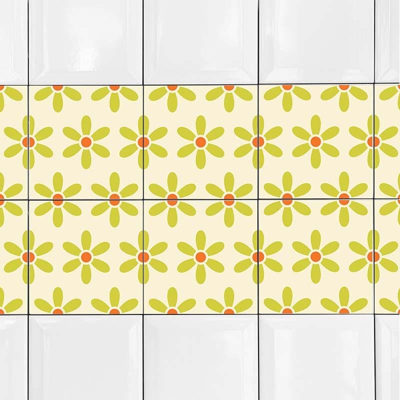 KIT Adesivos de Azulejos Flores Verdes
