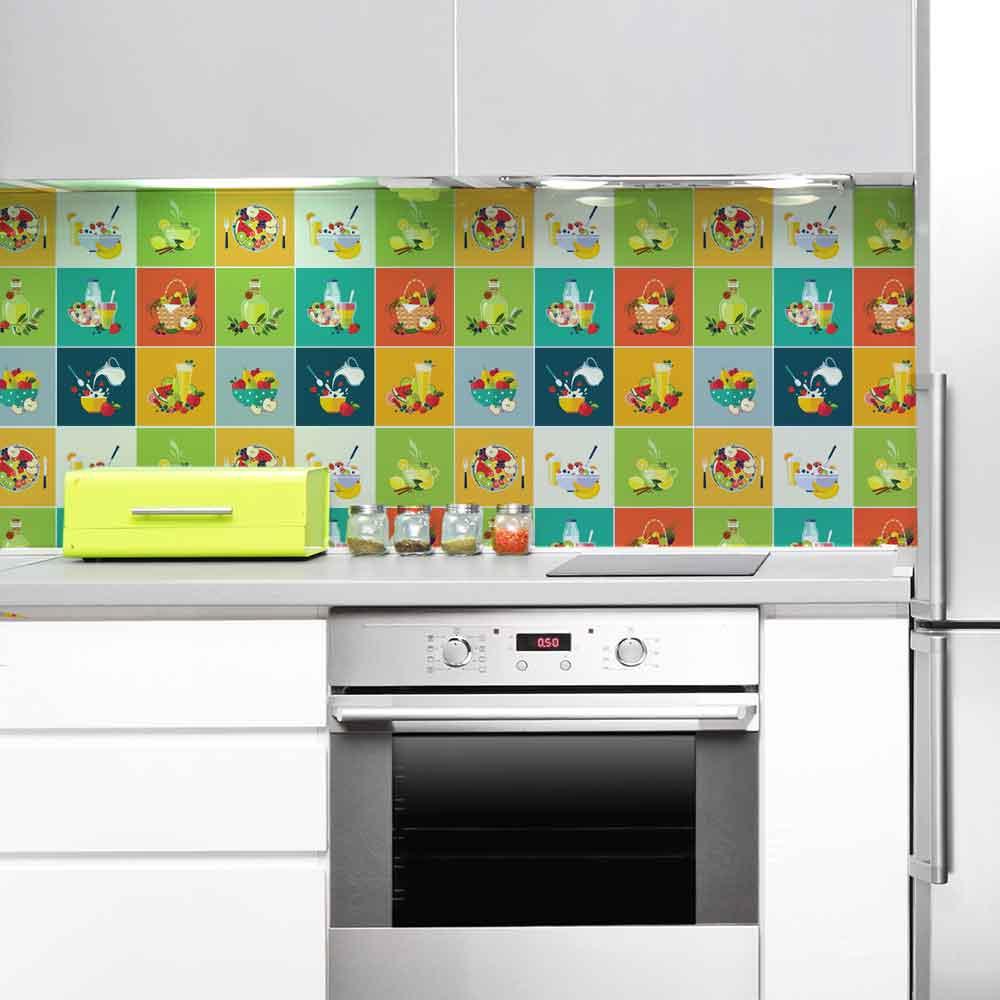 KIT Adesivos de Azulejos Foods Kitchen