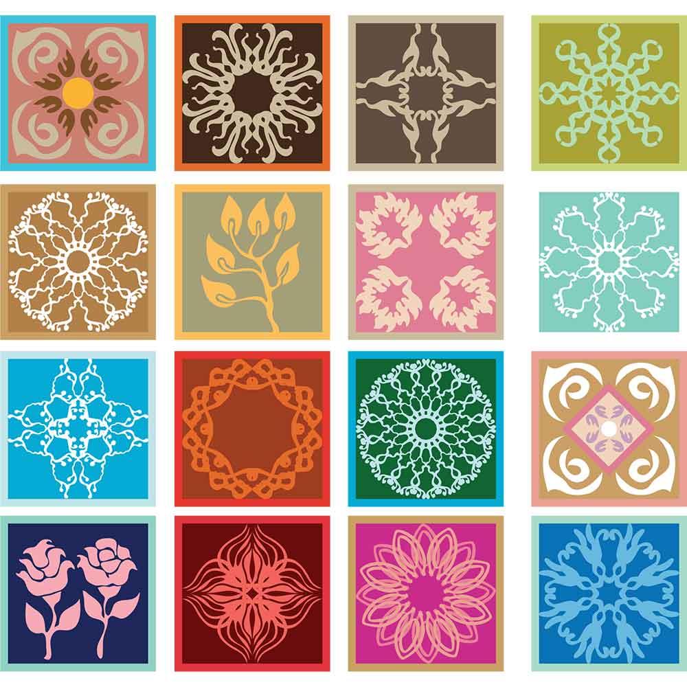 KIT Adesivos de Azulejos Hidraulico Colorido