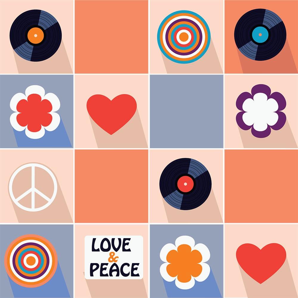 KIT Adesivos de Azulejos Hippie Icon