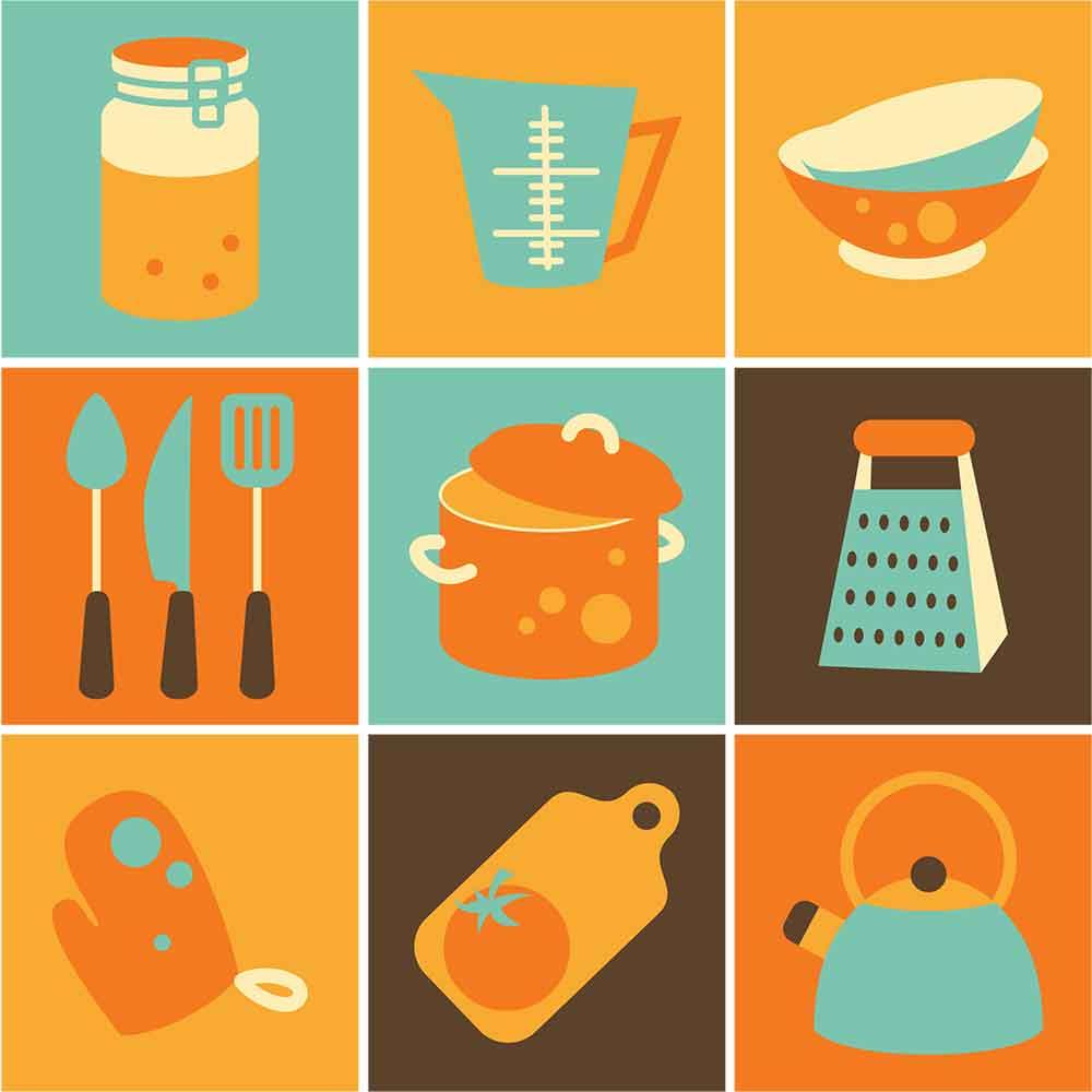 KIT Adesivos de Azulejos Orange and Blue Elements Kitchen