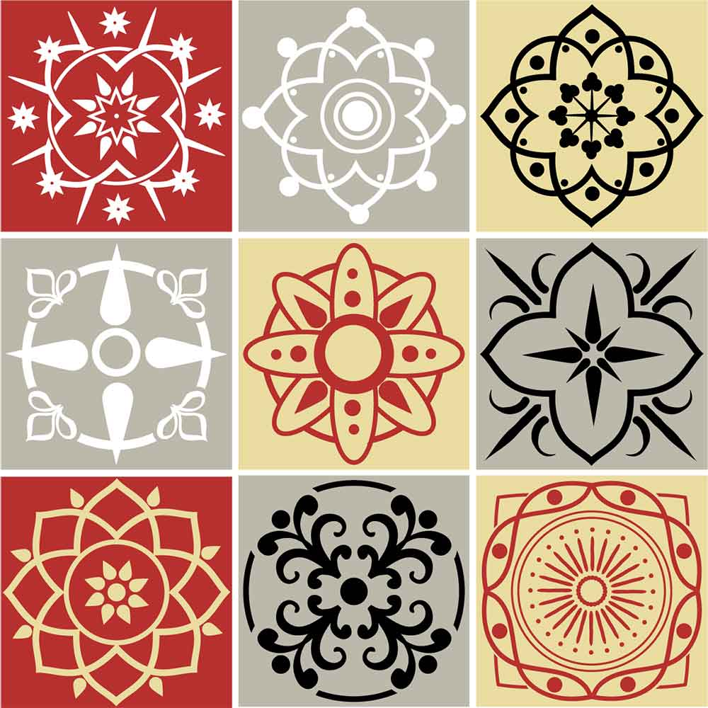 KIT Adesivos de Azulejos Ornamento Bell