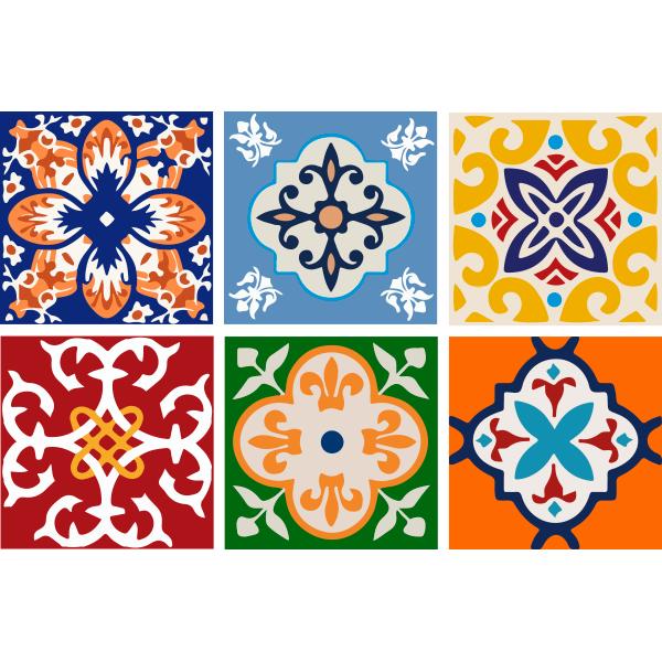 KIT Adesivos de Azulejos Ornamentos Coloridos