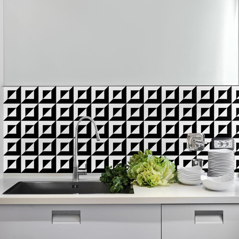 KIT Adesivos de Azulejos Preto no Branco