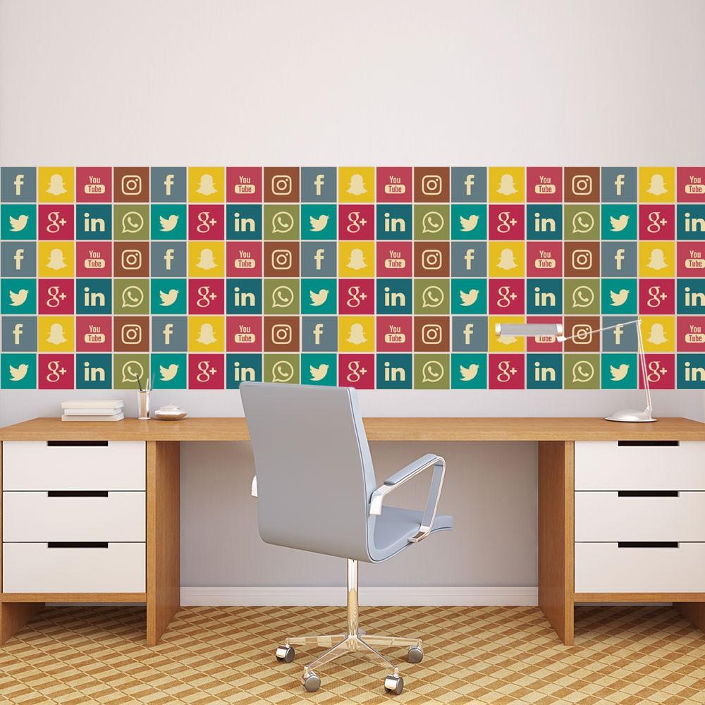 KIT Adesivos de Azulejos Rede Sociais